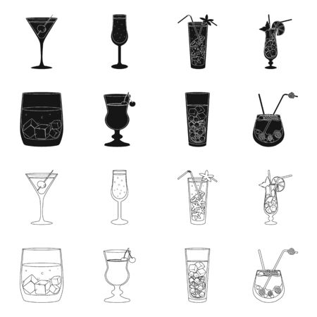 Vector design of liquor and restaurant icon. Set of liquor and ingredient vector icon for stock.  イラスト・ベクター素材