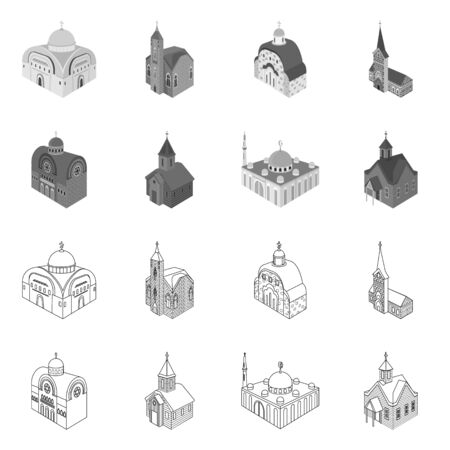 Isolated object of temple and historic sign. Collection of temple and faith vector icon for stock. Illusztráció