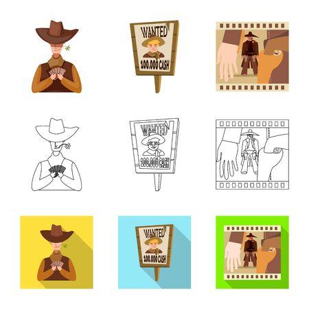 Objeto aislado de texas e icono de historia. Colección de iconos vectoriales de texas y cultura para stock. Ilustración de vector