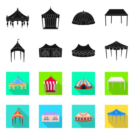 Isolated object of roof and folding icon. Collection of roof and architecture stock symbol for web.