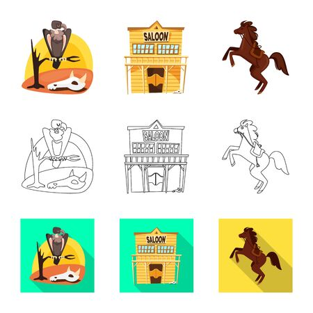 Vector illustration of texas and history symbol. Set of texas and culture vector icon for stock.