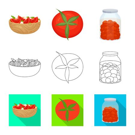 Isolated object of vegetable and delicious icon. Set of vegetable and natural stock symbol for web.