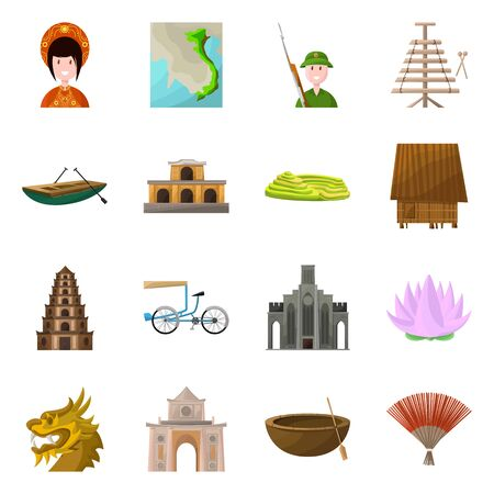 Vector design of travel and country sign. Collection of travel and culture stock vector illustration.