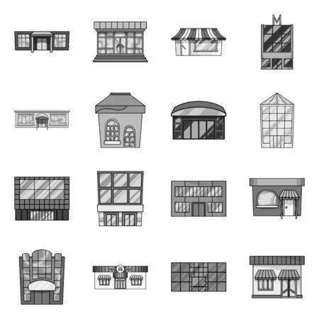 Vectorillustratie van supermarkt en gebouw pictogram. Set van supermarkt en zakelijke vector pictogram voor voorraad. Vector Illustratie