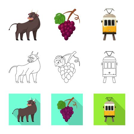 Vector illustration of and historic icon. Set of and country stock vector illustration.  イラスト・ベクター素材