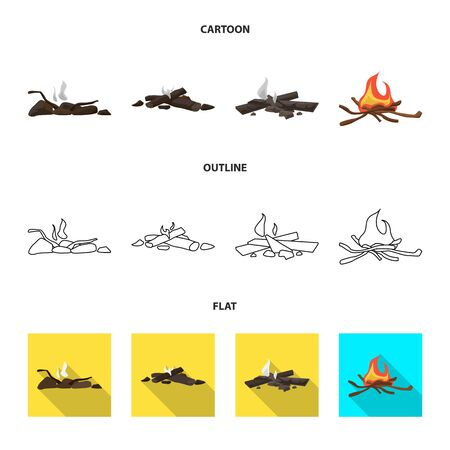 Vector design of danger and tourism icon. Collection of danger and hiking stock symbol for web. 일러스트