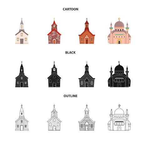 Vector illustration of cult and temple. Collection of cult and parish stock symbol for web. Illustration