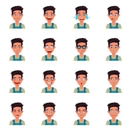 Vector illustration of face and boy sign. Set of face and young stock symbol for web.