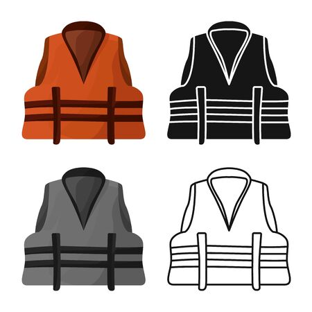 Vector design of vest and jacket sign. Collection of vest and lifejacket stock vector illustration.