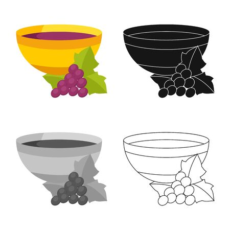 Vector design of wine and vase symbol. Set of wine and history stock vector illustration.