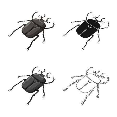 Vector design of beetle and bug symbol. Collection of beetle and summer stock symbol for web.
