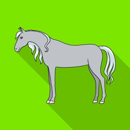 Vector illustration of horse and stand. Set of horse and wildlife stock symbol for web. Çizim