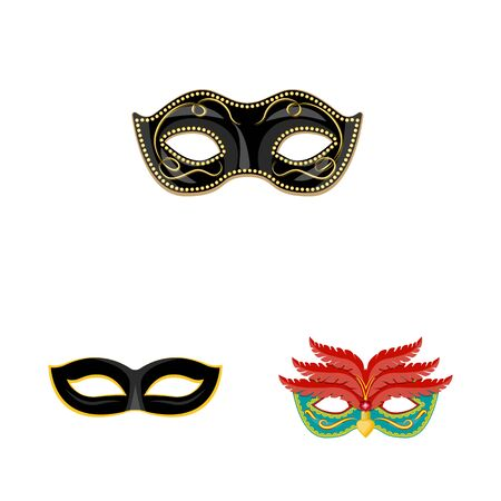 Vector design of carnival and theatrical . Set of carnival and mystery stock symbol for web. Çizim