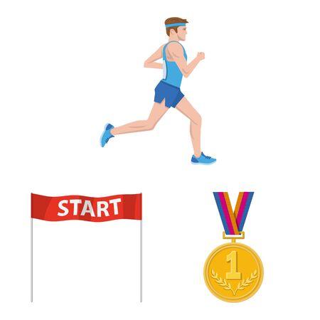 Vector design of step and sprint symbol. Collection of step and sprinter stock vector illustration. Ilustração