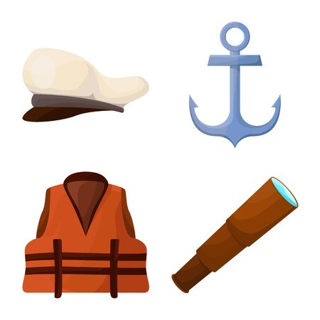 Isolated object of adventure and sea icon. Collection of adventure and travel stock vector illustration.