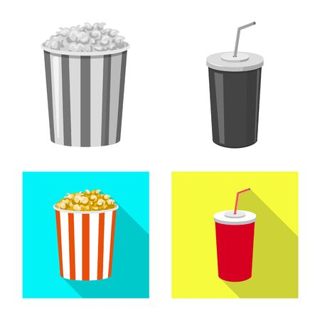 Isolated object of television and filming icon. Set of television and viewing stock vector illustration. Çizim