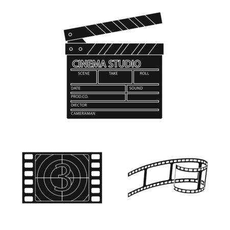 Vector illustration of session and viewing symbol. Set of session and theater stock symbol for web.