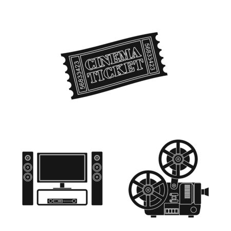 Vector illustration of session and viewing icon. Set of session and theater stock symbol for web. Ilustração