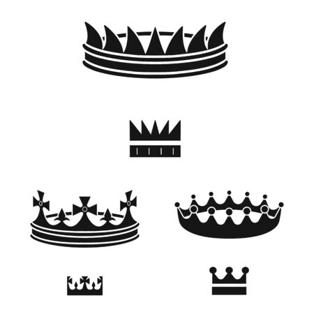 Vector design of king and majestic . Collection of king and gold vector icon for stock. Çizim
