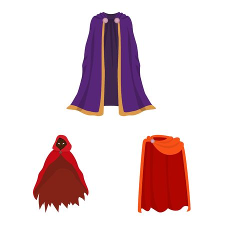 Vector design of cloak and clothes icon. Collection of cloak and garment stock symbol for web. Ilustração