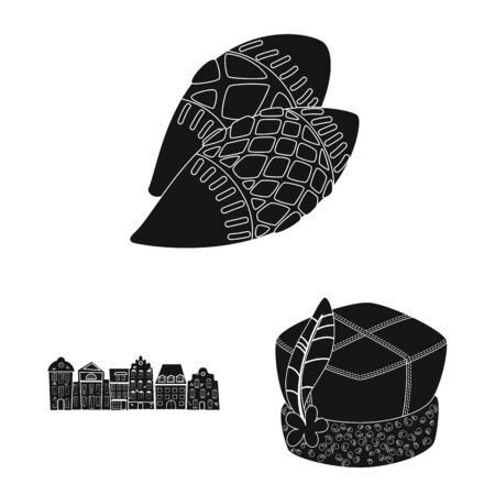 Isolated object of heritage and landmarks sign. Collection of heritage and travel vector icon for stock. Çizim