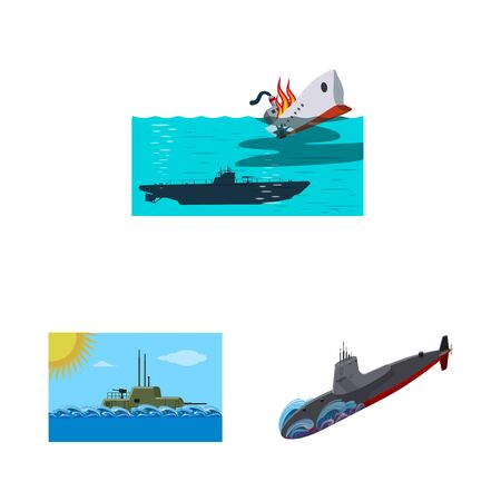 Isolated object of boat and navy  Collection of boat and deep stock vector illustration. Иллюстрация