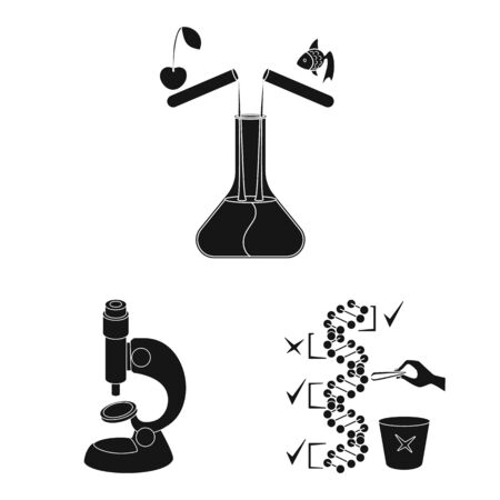 Isolated object of quality and laboratory . Collection of quality and genetically stock symbol for web. Ilustração