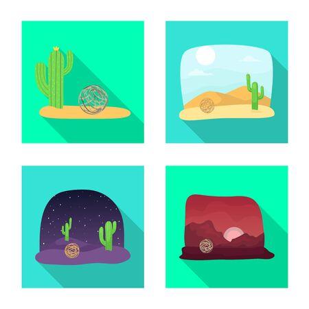 Vector illustration of landscape and nature  . Collection of landscape and environment stock vector illustration.