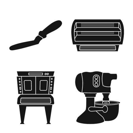 Vector illustration of bakery and natural  . Collection of bakery and organic stock vector illustration. Ilustração