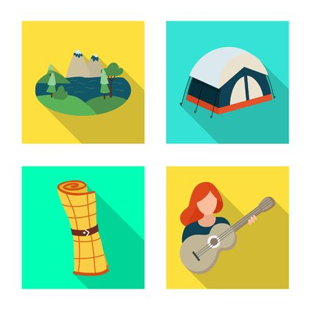 Isolated object of trekking and wildlife  . Collection of trekking and leisure stock symbol for web.