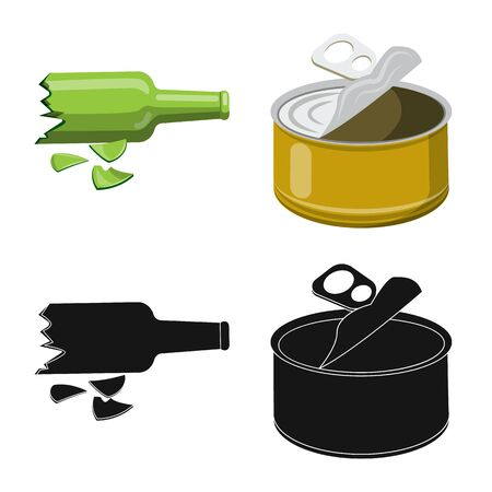 Vector illustration of refuse and junk icon. Set of refuse and waste stock vector illustration.
