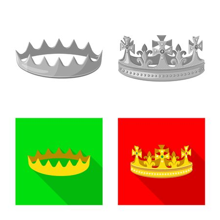 Isolated object of medieval and nobility  . Collection of medieval and monarchy stock symbol for web.
