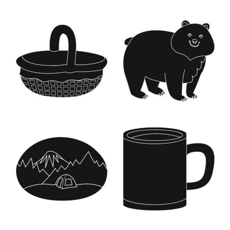 Vector design of barbeque and rest icon. Collection of barbeque and nature vector icon for stock.