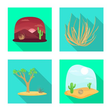 Vector illustration of landscape and nature symbol. Set of landscape and environment vector icon for stock.