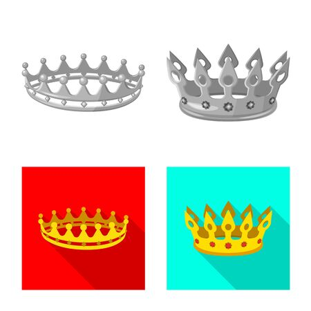 Vector illustration of medieval and nobility sign. Collection of medieval and monarchy vector icon for stock. Çizim