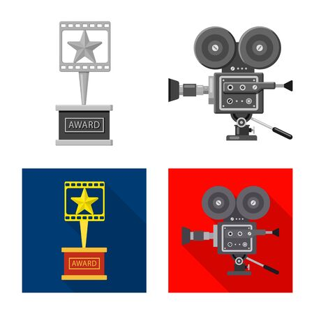 Vector design of television and filming sign. Collection of television and viewing vector icon for stock. Çizim
