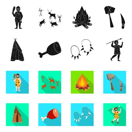 Isolated object of evolution and neolithic . Collection of evolution and primeval vector icon for stock.