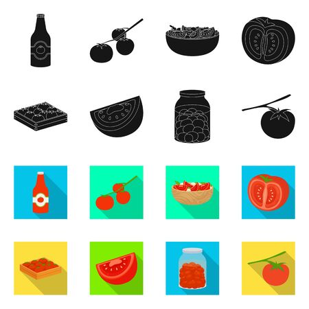 Vector illustration of vegetable and delicious . Set of vegetable and natural vector icon for stock.