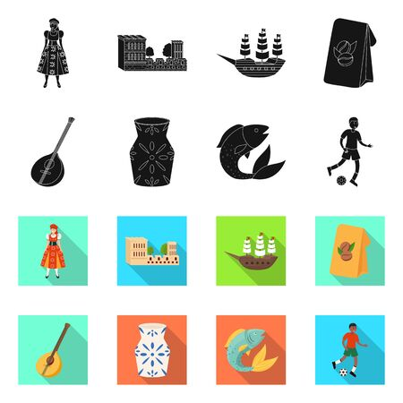 Isolated object of and historic  . Set of and country vector icon for stock.