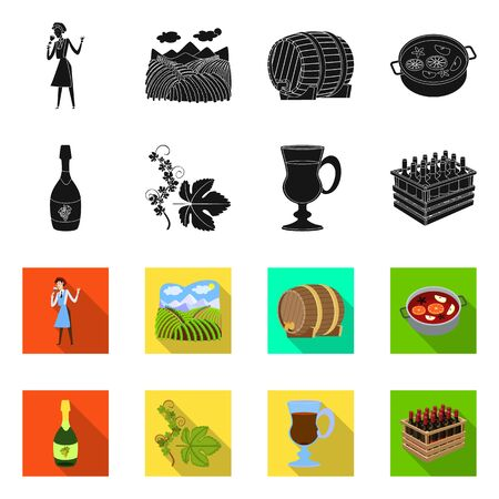 Vector design of farm and vineyard icon. Collection of farm and product stock vector illustration.
