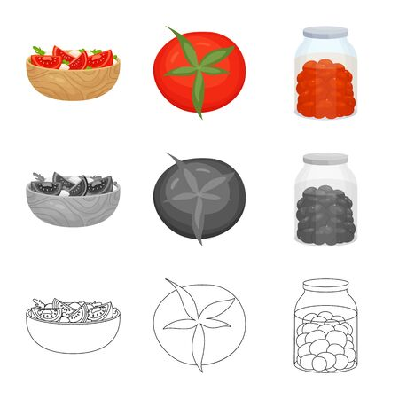 Vector design of vegetable and delicious icon. Set of vegetable and natural stock vector illustration.