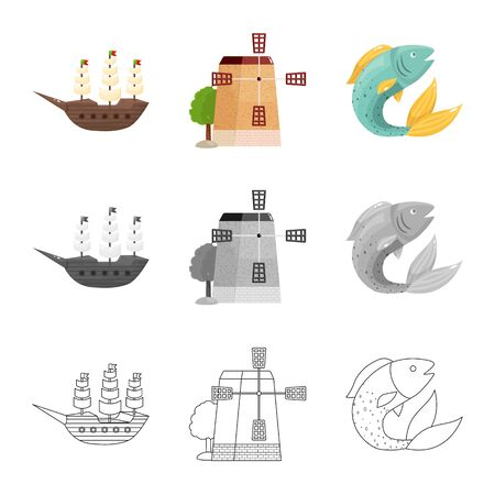 Isolated object of and historic icon. Set of and country stock symbol for web. Иллюстрация