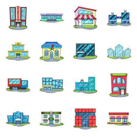 Vector illustration of supermarket and building icon. Collection of supermarket and city stock symbol for web.