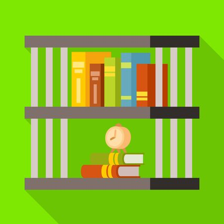 Vector design of bookshelf and book icon. Set of bookshelf and bookcase stock vector illustration. 向量圖像