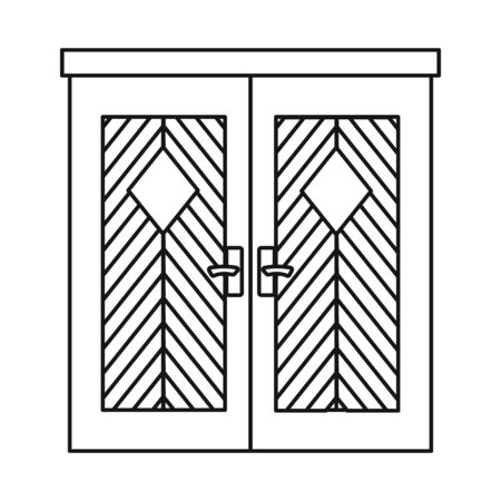 Vector illustration of door and apartment . Set of door and lock stock symbol for web. Stock Illustratie