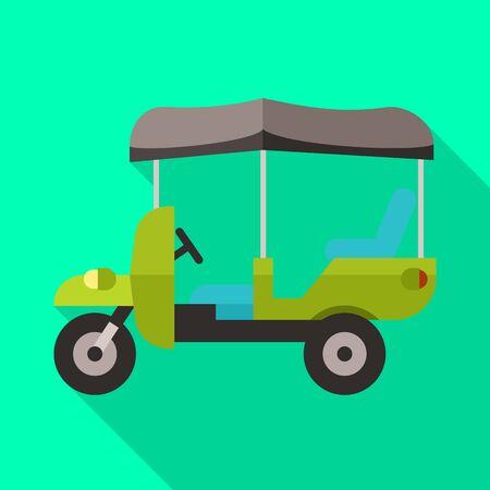 Vector illustration of rickshaw and auto sign. Set of rickshaw and service stock vector illustration. Vetores