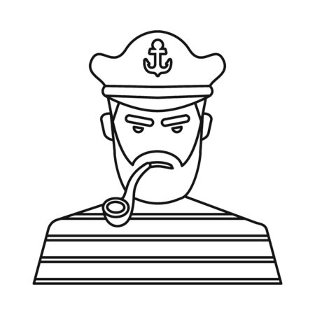 Isolated object of captain and seaman  . Set of captain and face stock symbol for web. Stock Illustratie