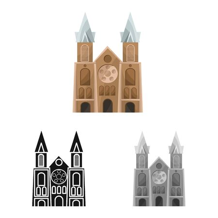 Isolated object of chapel and vietnamese sign. Collection of chapel and cathedral stock symbol for web.