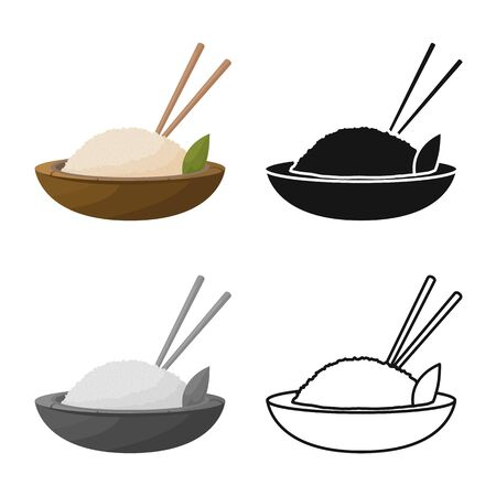 Vector illustration of rice and food  Set of rice and bowl stock symbol for web.
