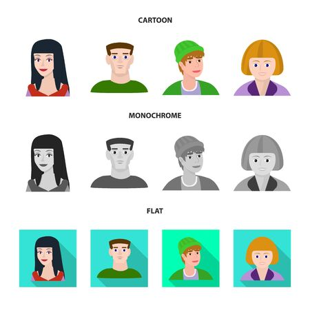 Vector illustration of avatar and person symbol. Set of avatar and profession stock vector illustration.